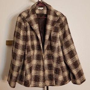 Tweed Open Blazer Cream and Brown Plaid